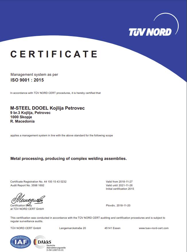 slabinck Certificaat iso 9001-2015 steel