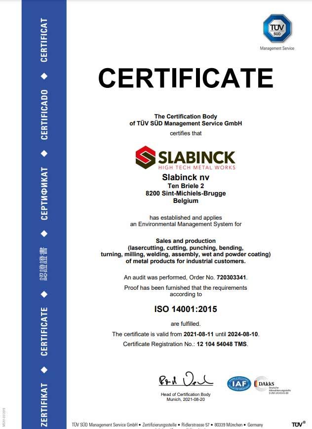 ISO14001-2015 slabinck nv